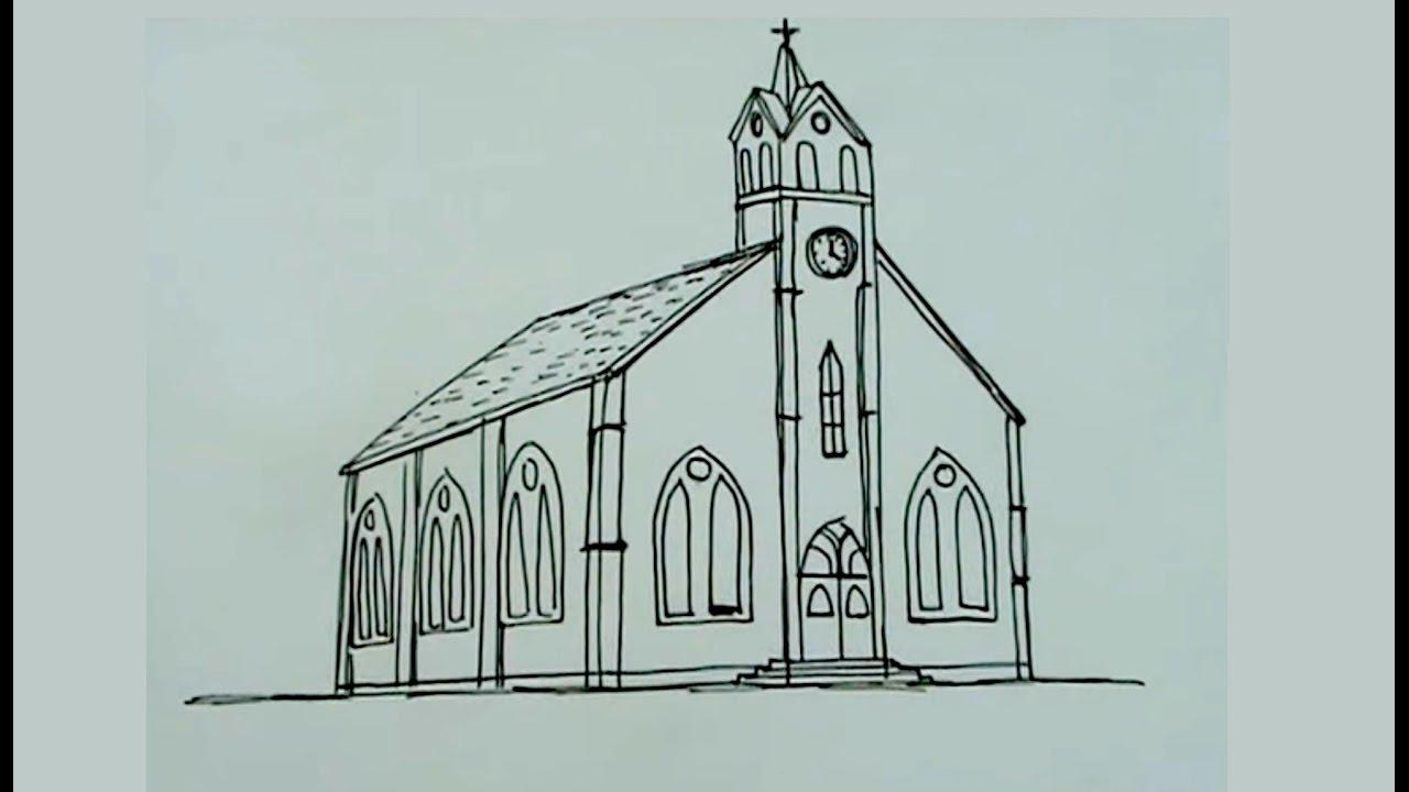 Dibuja paso a paso una iglesia catolica - YouTube