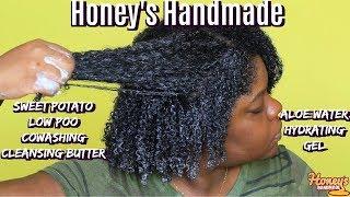 #WashDay Honey's Handmade | Sweet Potato CoWash & Aloe Water Hydrating Gel