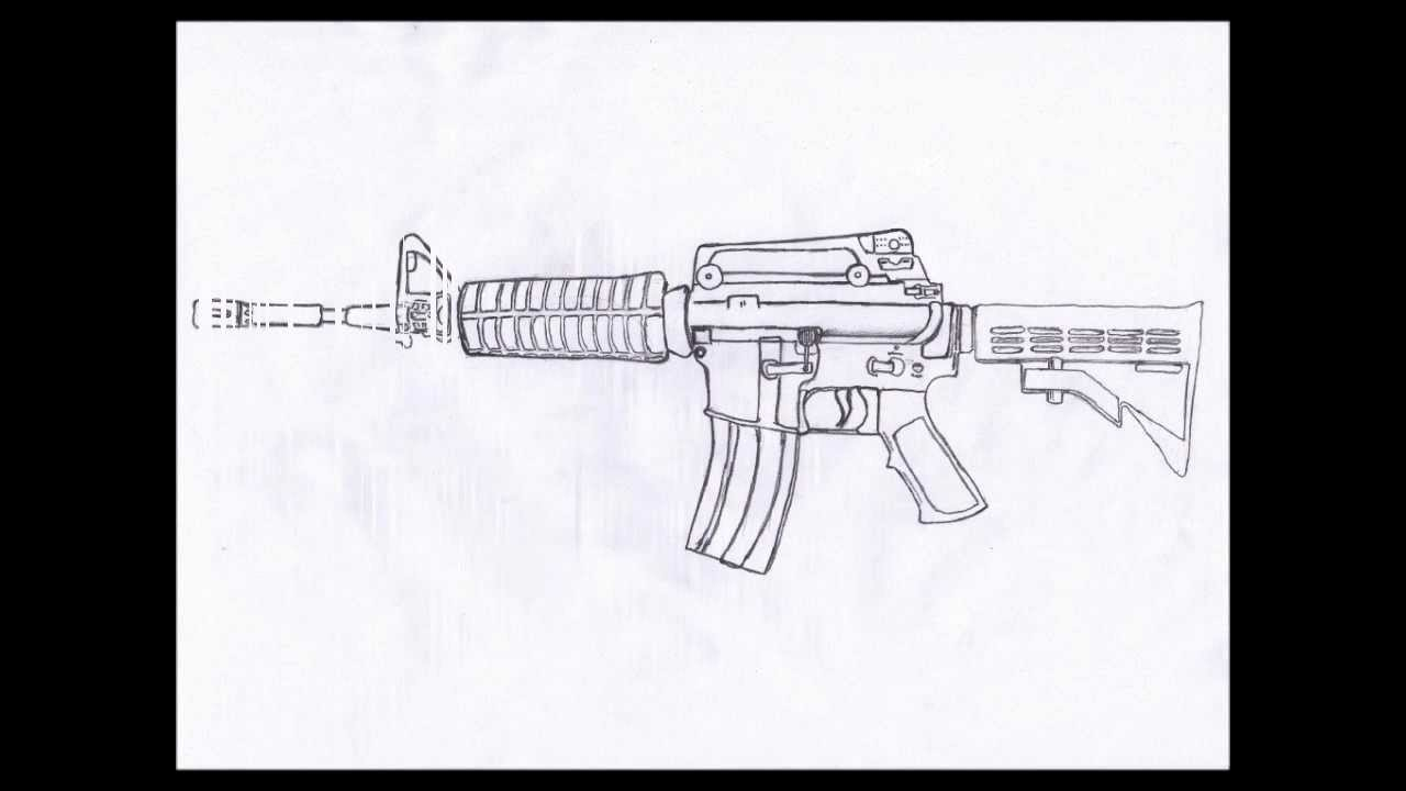 How To Draw M4a1 Carbine Step By Step (hd)