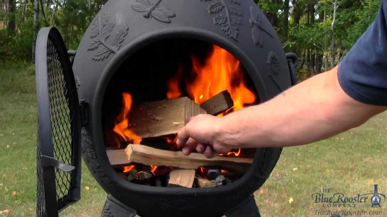 Blue Rooster Chiminea Dragonfly Light A Chiminea Fire Featuring Brothers Burn Mountain Youtube