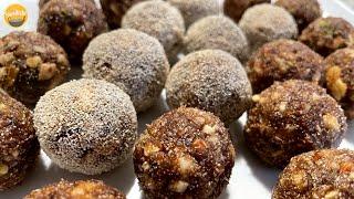 Sugarless Healthy Date &amp Nut Ladoo  Winter Recipe  Khajoor Ladoo  खजर क लडड