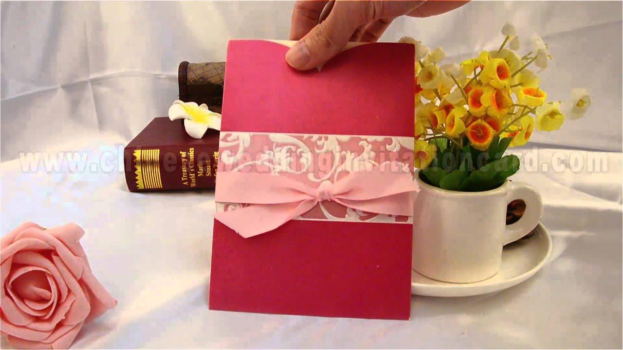 Romantic pink wedding invitation card with ribbon - YouTube