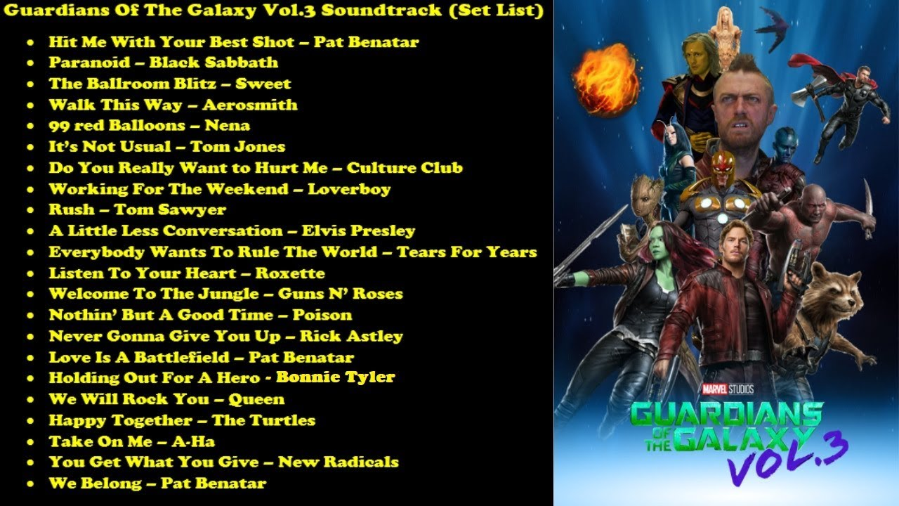 Guardians Of The Galaxy Vol 3 Soundtrack Set List Youtube