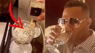 محمد رمضان يشرب ماء بقشر الذهب ويروج لـ كليبه الجديد يا حبيبى فى تايمز سكوير