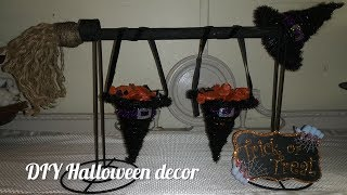 Dollar tree DIY 3 minute Friday Halloween theme witches hat broomstick candy holder #dollartreediy