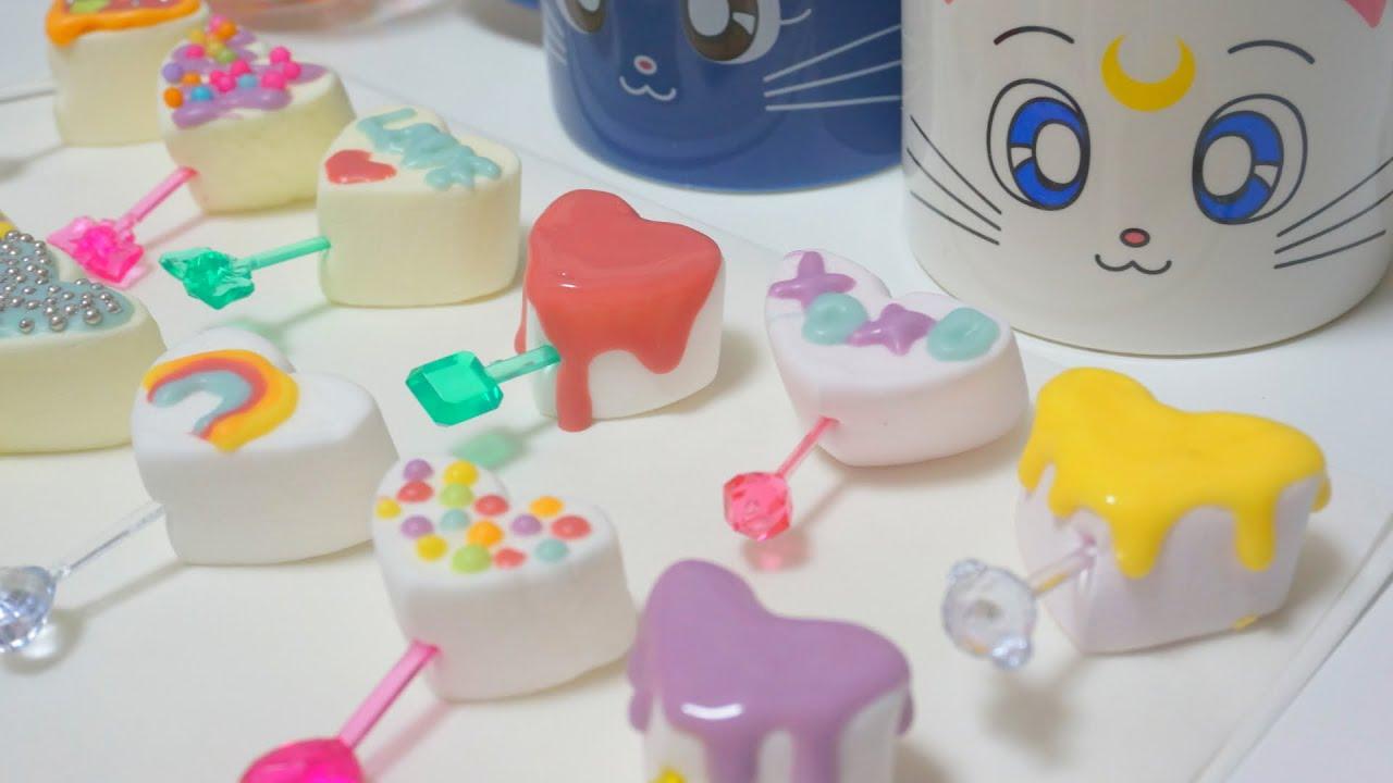 Japanese Deco Chocolate Marshmallows for Valentines! バレンタインのデコチョコマシュマロ作ってみた♥  , YouTube