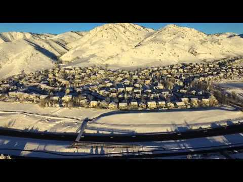 Drone video of Golden, CO following large snow storm