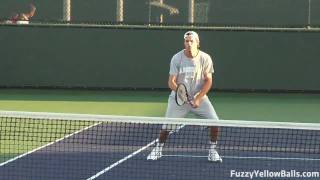 Bob and Mike Bryan Volleying during Practice