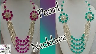 #76 How to Make Pearl Beaded Necklace || Diy || Jewellery Making At Home