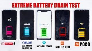 Moto One Power vs 6GB Zenfone M1 vs Poco F1 vs Note 5 Pro vs OnePlus 6 -EXTREME BATTERY DRAIN TEST🔥