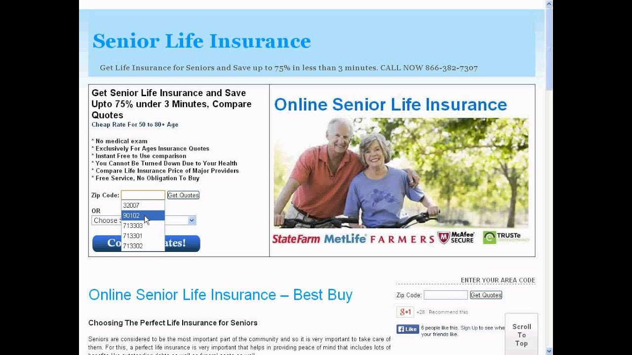 Life Insurance Quotes No Medical Exam Online Senior Life Insurance Quote  Youtube