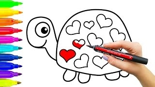 Como desenhar tartaruga com corações | Colorir para crianças com marcadores coloridos