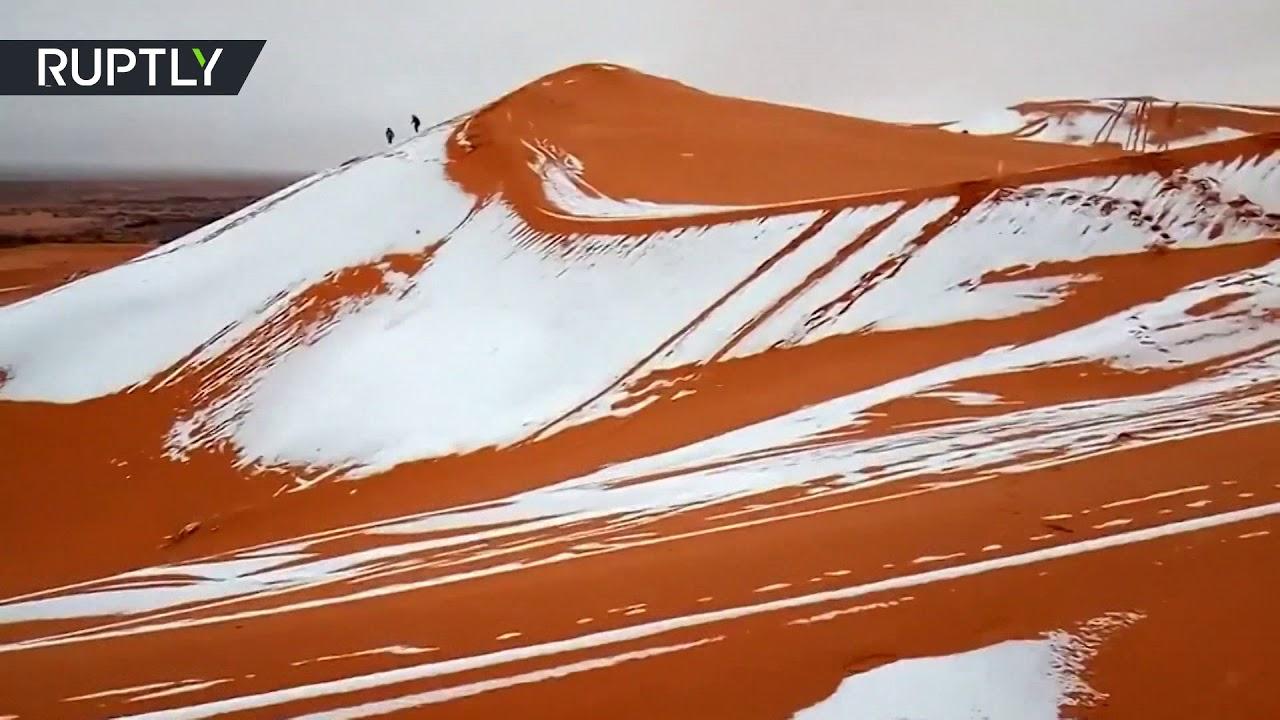 Белая Сахара: видеокадры из заснеженной пустыни