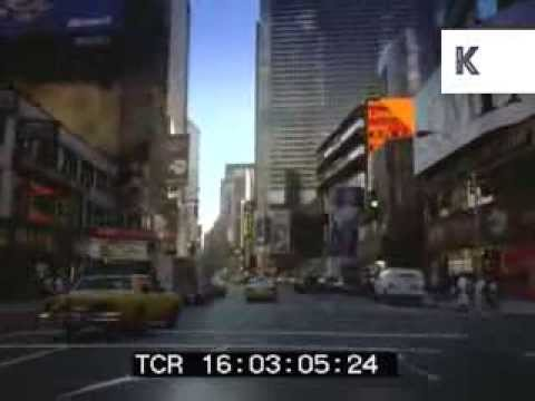 Drive through 1995 Manhattan, Broadway, Times Square, 1990s New York