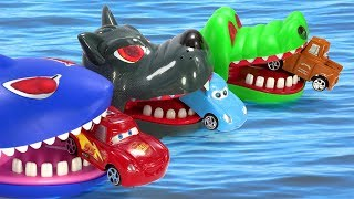 Crocodile, Shark and Crazy Dog Attack Disney Car Lighting McQueen, Tow Mater | Toys For Kids