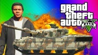 GTA 5 Tank FUN - Explosions, Running Over Cars, Trick Shots (GTA 5 Funny Moments & Gameplay)