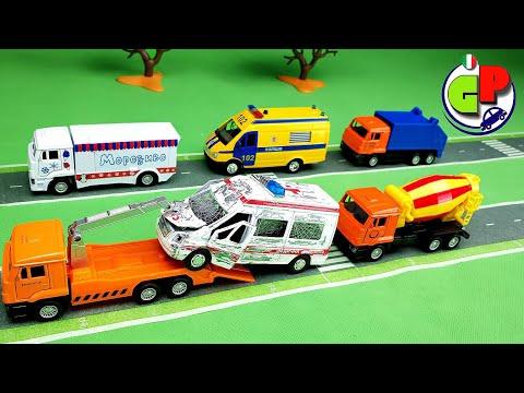 Camion dei pompieri carro attrezzi betoniera camion della spazzatura Cartone animato e disfacimento