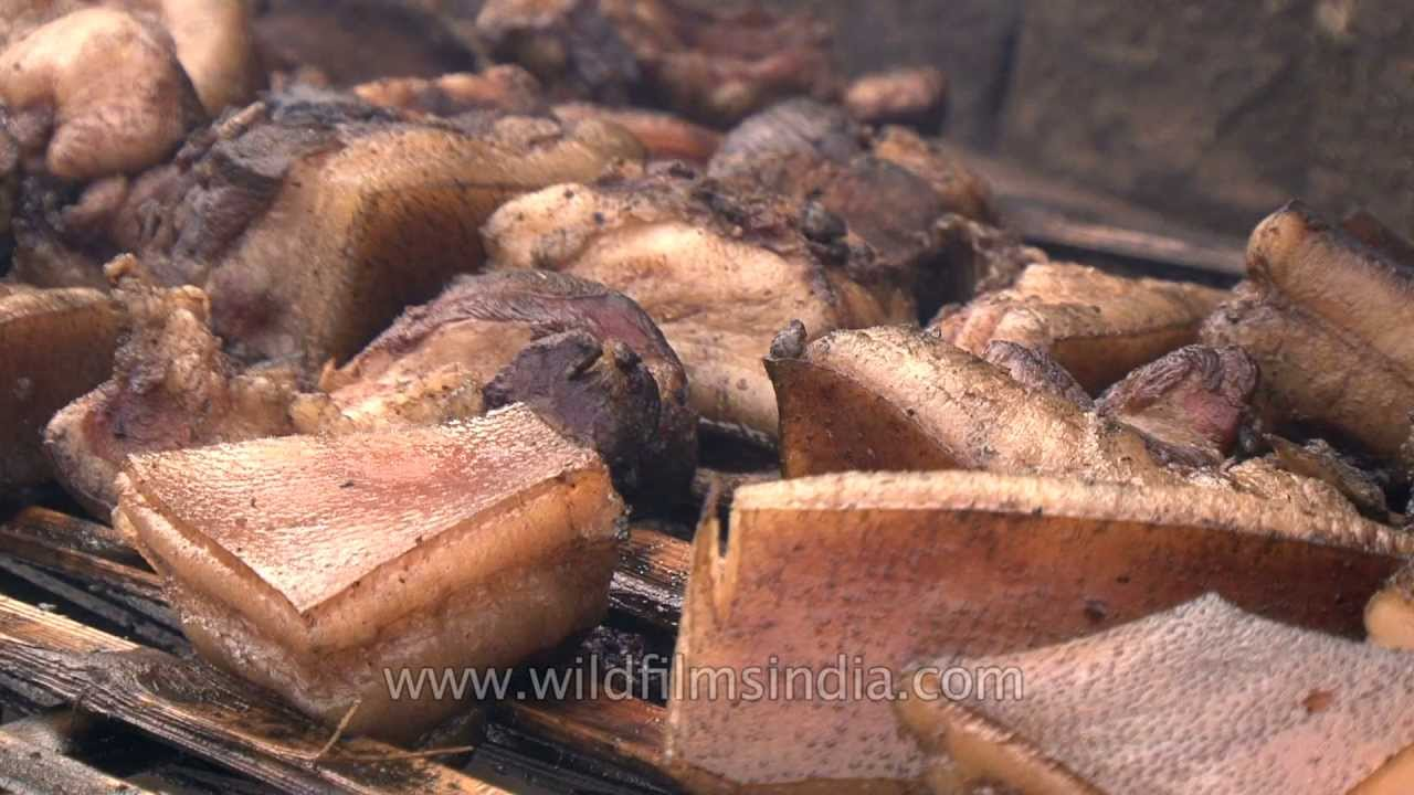Smoked pork laid out in the open at Hornbill festival, Nagaland