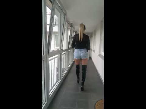granate-styling,-walking,-denim-micro-shorts,-pvc-thigh-high-boots,-high-heels,-bodystocking