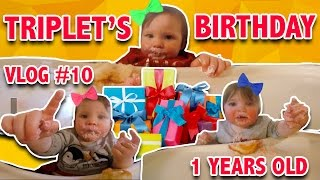 The TRIPLETS turned 1 year old | BIRTHDAY PARTY | First time eating cupcakes | Family Vlog #10(Hey boys and girls.... come join us for our 10th family vlog for a Birthday Party! The Triplets turned 1 year old recently! Dec 14, 2016 to be exact. We invited some ..., 2016-12-20T00:33:37.000Z)