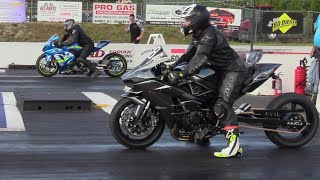 GSXR vs H2 Kawasaki - drag race