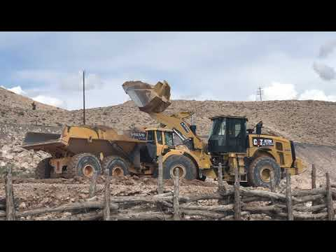 CAT 972M Wheel Loader and Volvo A40G Rock Truck in Sloan, Nevada