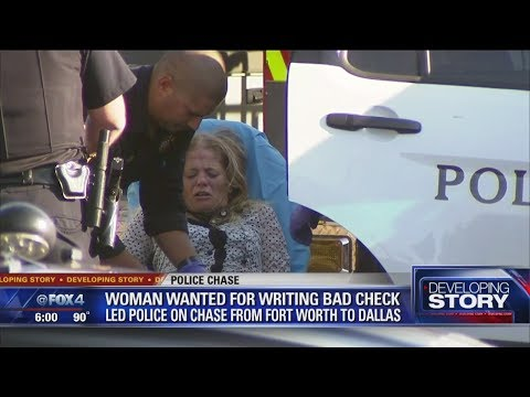 Woman trying to pass fake check leads police on chase