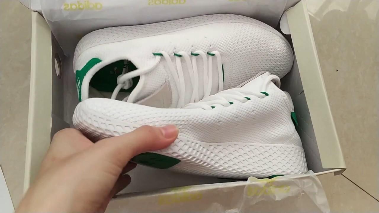 6e4535b84f37 Pharrell Williams x adidas Originals Tennis HU White Green BA7828 ...