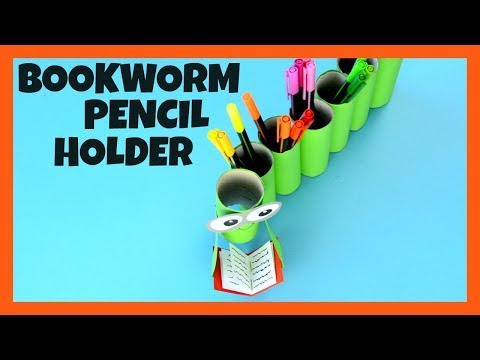 Bookworm Paper Roll Pencil Holder - back to school fun DIY school supplies crafts for kids
