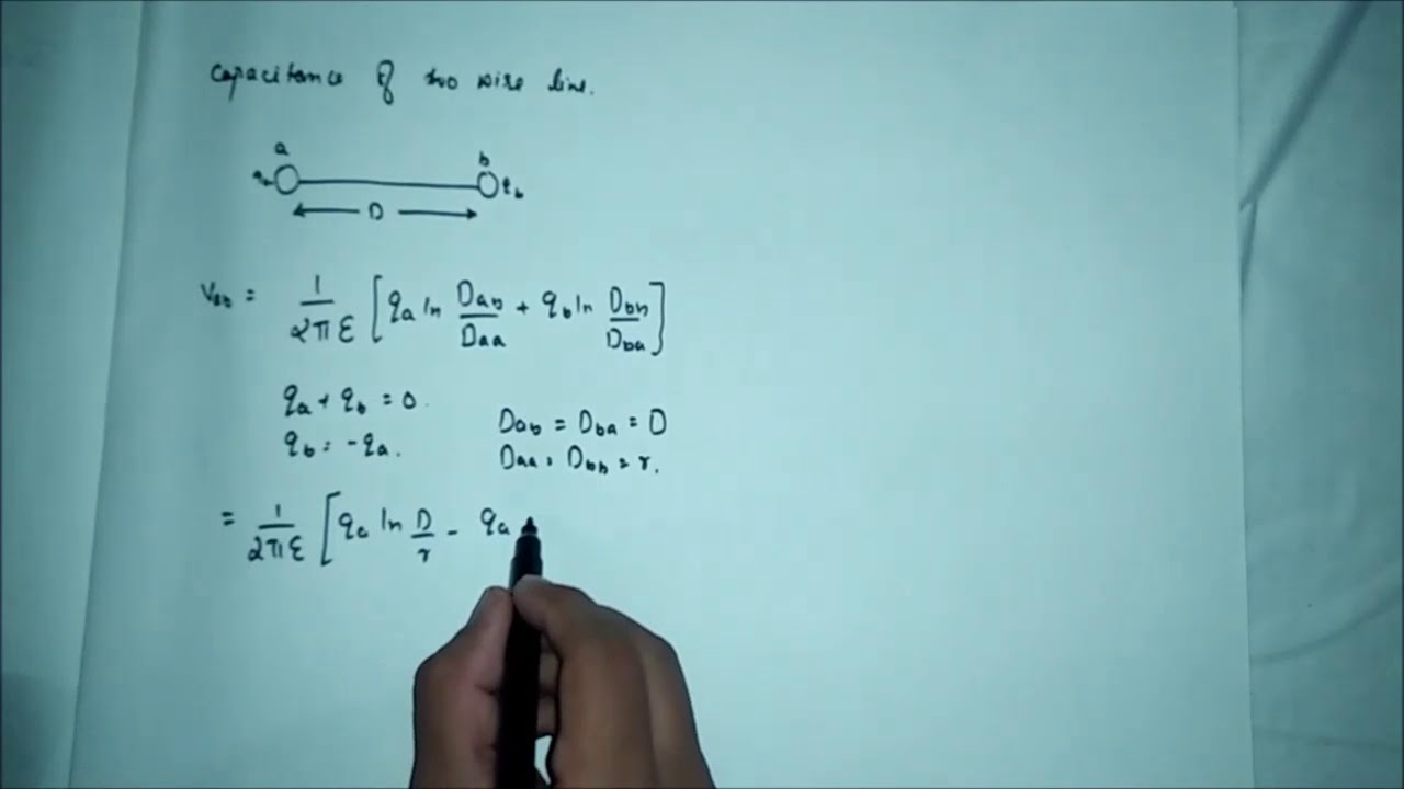 capacitance of two wire line in transmission line - YouTube