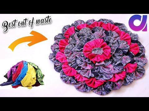 how to Reuse Your Old Clothes to make rugs, carpet, table mat | clothes recycling | Artkala 247