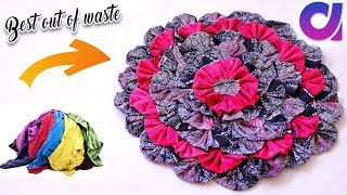 how to Reuse Your Old Clothes to make rugs, carpet, table mat | clothes recycling | Artkala 247 thumbnail