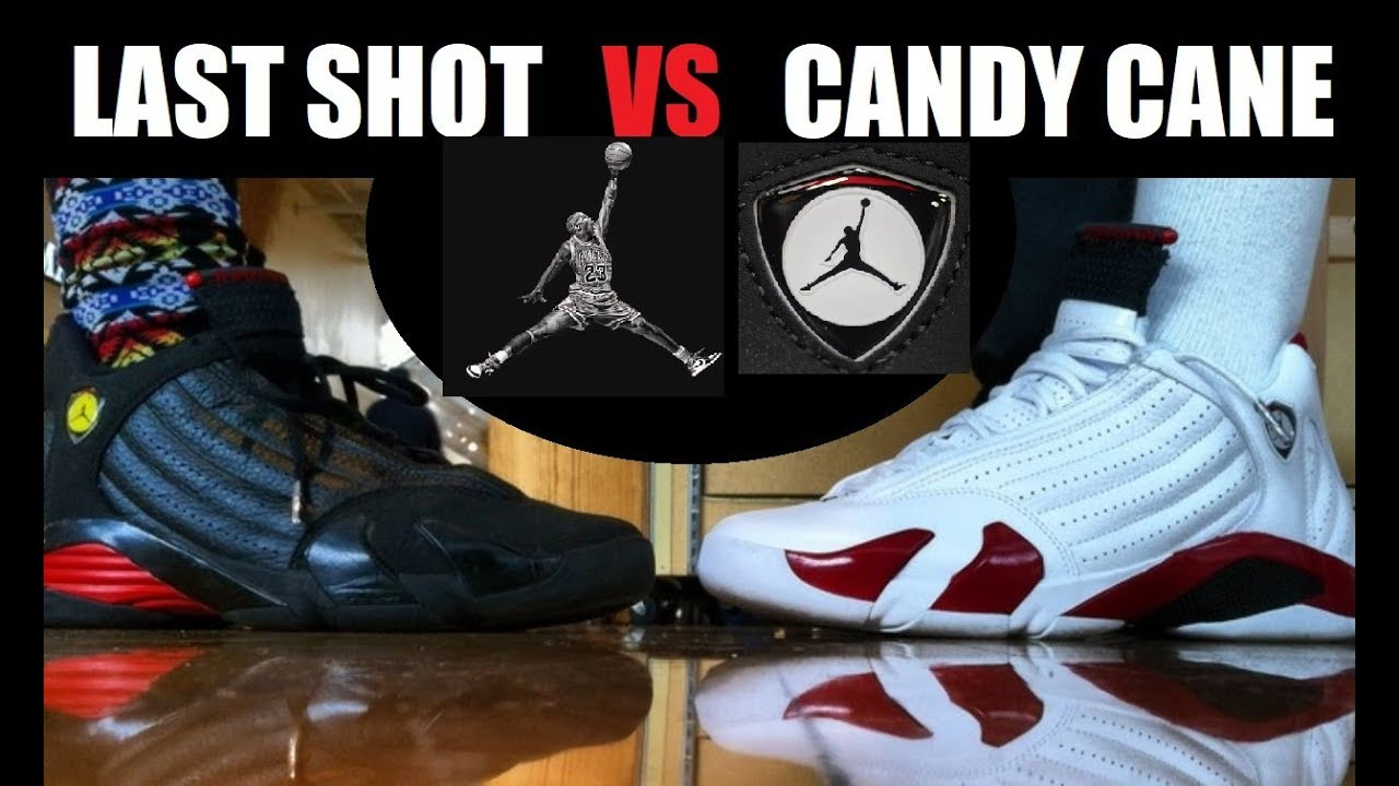 c4faaa0dbc9d Air Jordan 14 Last Shots VS Cherry Candy Cane Retro Shoes On Feet  PICKONE