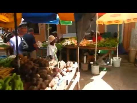 searching for meat + produce @ Castries market- St Lucia
