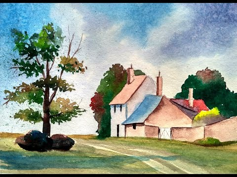 WATERCOLOR PAINTING Easy Tutorial landscape - HOW TO PAINT a TREE, SKY,HOUSE