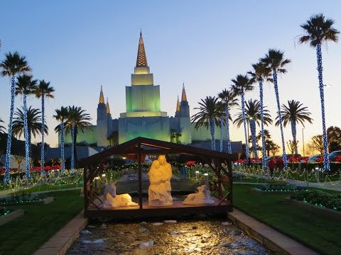 Oakland California LDS (Mormon) Temple - Christmas lights come on, after stunning sunset