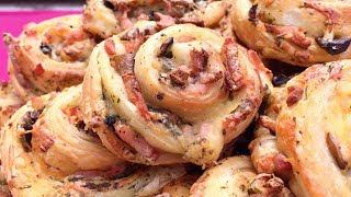 Чудо-розочки с грибами и колбасой.