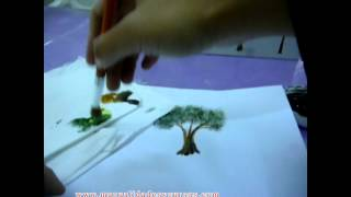 Como pintar árbol en acrilico/how to paint a tree/acrylic painting