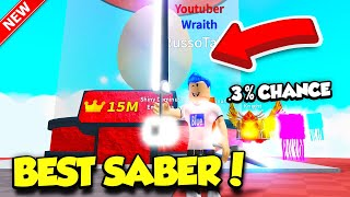 I GOT THE MOST EXPENSIVE SABER AND INSANE NEW PETS IN SABER SIMULATOR UPDATE! (Roblox)