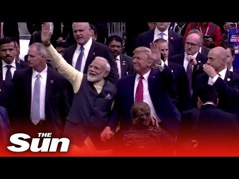 """Howdy Modi!"" -  Donald Trump hosts Indian Prime Minister Narendra Modi at Texas rally"