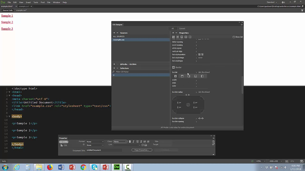 Dreamweaver Cc Use The Css Designer To Make An External Style Sheet Electronic Selector For 8 Sources
