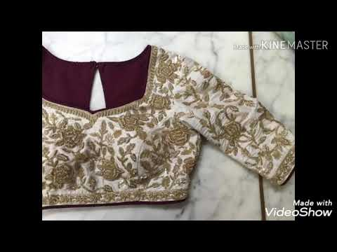 Saree blouse work, lehenga choli blouse embroidery latest design colour combination.#bynewhomemade#