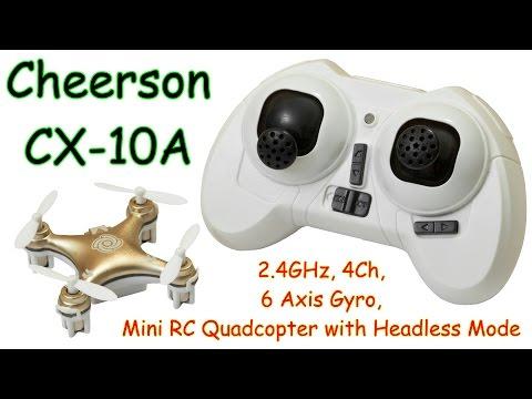 Cheerson CX-10A 2.4GHz, 4Ch, 6 Axis Gyro, mini RC Quadcopter with Headless Mode (RTF)