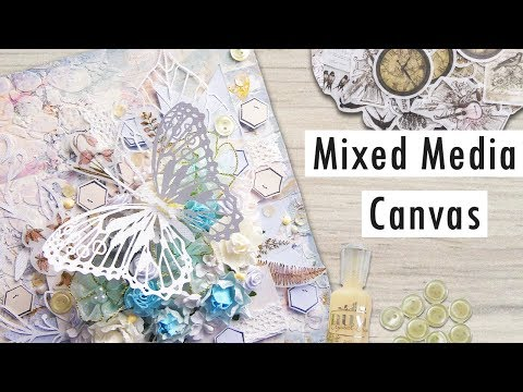 Dimensional Mixed Media Canvas Tutorial using Papers, Flowers & InloveArt Supplies