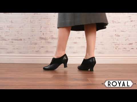 Greta Retro Side-Button Shoes In Black By Royal Vintage