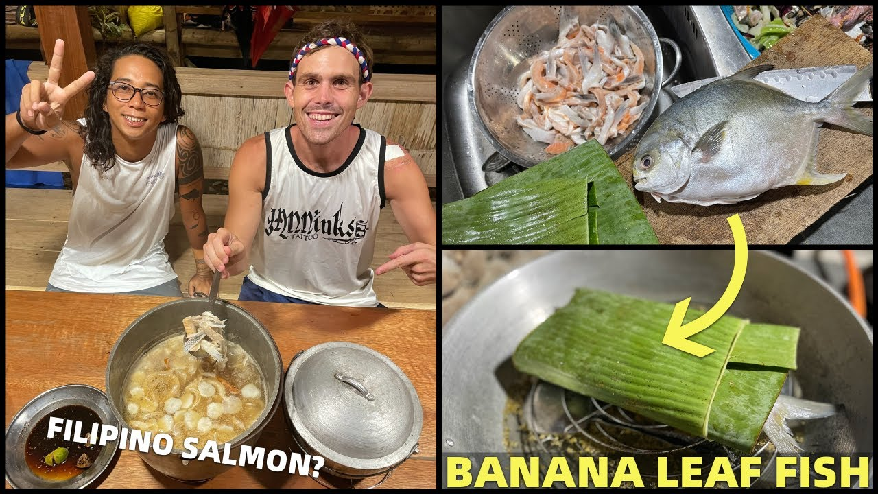 FILIPINO BANANA LEAF COOKING - Steamed Fish and Sinigang Salmon Soup (Davao Beach Land)