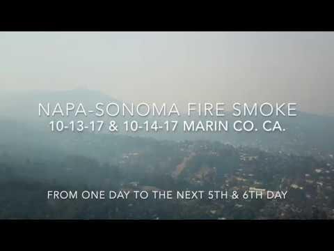 Napa Sonoma Fire Smoke in Marin Co  CA.