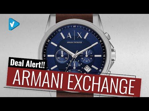 35% Off Armani Exchange Armani Exchange Men's AX2501 Brown Leather Watch Cyber Monday Deals 2019