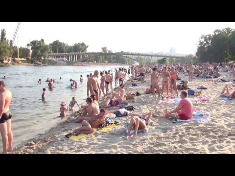 sandy beaches at Dnepr River Kiev Ukraine