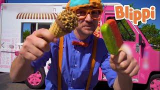 Blippi Ice cream Song | We All Scream For Ice Cream! | Moonbug Kids Songs